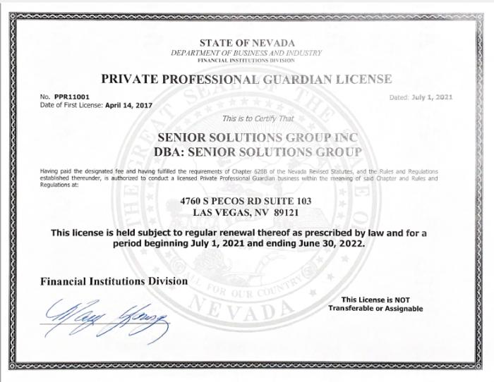 Nevada PPG License 2021